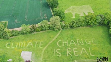 A student has left a powerful climate change message to Donald Trump underneath the Stansted Airport