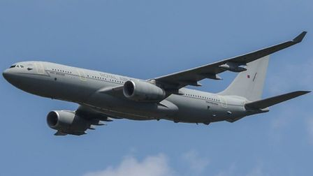 An Airbus Voyager was pictured during the practice runs for the Queen's Birthday flypast this weeken