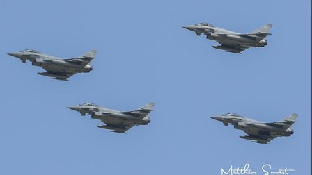 A Eurofighter Typhoon was pictured during the practice for the Queen's Birthday flypast this weekend