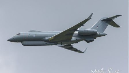 A Raytheon Sentinel R1 was pictured during the practice for the Queen's Birthday flypast this weeken