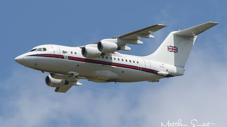 A BA 146 was pictured during the practice for the Queen's Birthday flypast this weekend. Picture: MA