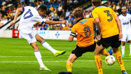 Andre Dozzell rifles home for Ipswich at Cambridge in 2016. Picture: Steve Waller www.stephenw