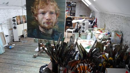 The studio of Colin Davidson in Bangor, Belfast, with 'Ed Sheeran 2' on an easel and portrait oil st