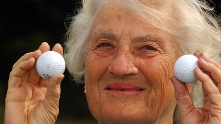 Felicity Ann Sieghart celebrates her double hole-in-one at Aldeburgh in 2003 Picture: James Fletch