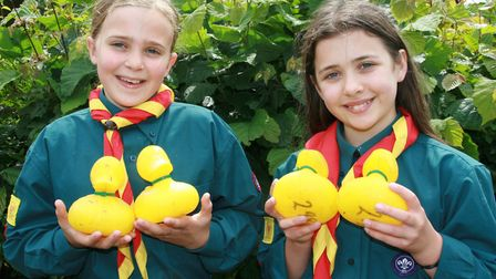 Combs scouts Jemima Hill, left and Hermione Johnson get set for the duck race Picture: MARK LANGFORD