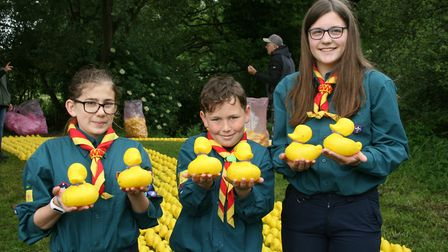 Combs scouts Kerry Woods, left, Jed Graham, and Rosie Robertson with their ducks Picture: MARK LANGF