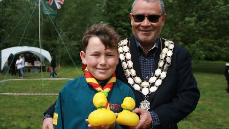 Mayor Of Stwomarket Paul Ekpenyong with Combs scout Jed Graham Picture: MARK LANGFORD
