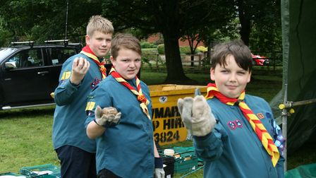 Alfie Woolgar, left, Charlie Denman and Philip Denny get set for a smashing time throwing rocks at t