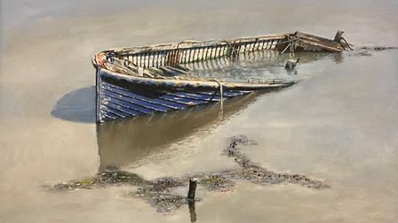 Blue Wreck, Orford, by Allan Williams, part of the Ipswich Art Society Open Exhibition 2019 Photo: A