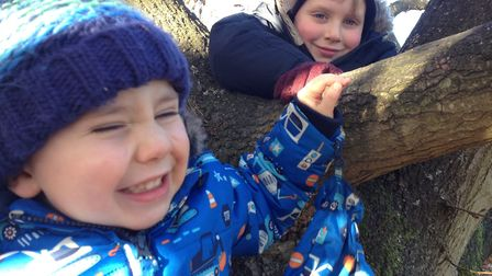 Oliver Hall and his brother Charlie in Halesworth, in February 2017 Picture: BRYAN AND GEORGIE HALL