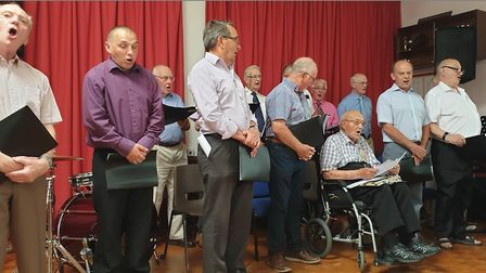 The Chelmondiston Male Voice Choir joined Cyril for a sing song Picture: CONTRIBUTED BY FAMILY
