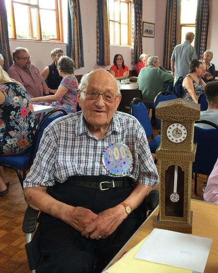 RAF veteran Cyril Hillman celebrated his 100th birthday party in Harkstead on Saturday, June 1. Pict