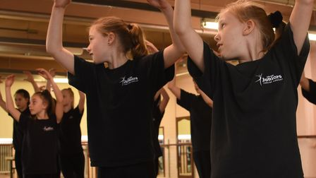The dancers in rehearsal. The Co-op Juniors present Honk! at the Seckford Theatre, Woodbridge, on Sa