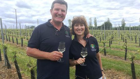 Peter and Jane Moore at Toppesfield Vineyard