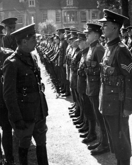 Norman Scarfe, (second right) during an inspection by Montgomery (left), then a brigadier. Picture: