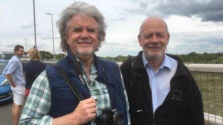 Friends David Allen and Trevor Warren, from Colchester, who were on the A12 bridge at Colchester Uni