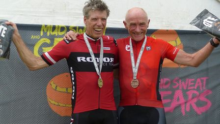 Vets 60-plus winner Nigel Herrod (left) and Peter Golding (West Suffolk Whs, 3rd) at Thickthorn. Pic