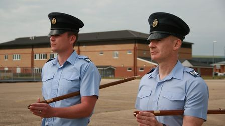 Drill instructors Corporal James Killa, left, and Sergeant Andy Sweeney oversee rehearsals Picture: