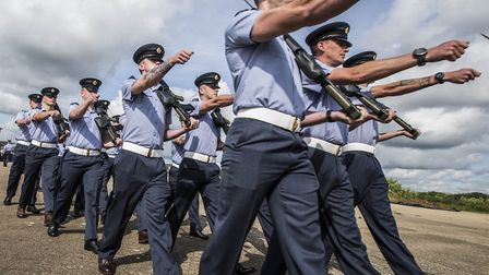 Personnel at RAF Honington rehears for the Freedom of Thetford parade Picture: RAF HONINGTON