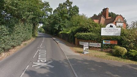 A fallen tree is blocking Yarmouth Road, just outside Ufford Park Hotel in Melton Picture: GOOGLE MA