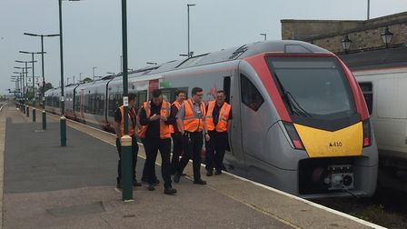 The Greater Anglia train on a test run in Lowestoft. Picture: ANDREW PAPWORTH