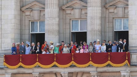 The Queen with members of the royal family on the balcony of Buckingham Palace. Picture: GARETH FULL