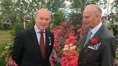 Lord Gardiner with John Dyter at the woodland garden display at Suffolk Show 2019 which John devised