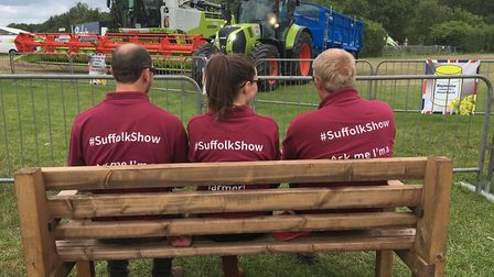 Farming Live at Suffolk Show 2019 - stewards watch on as the farm machinery display gets under way