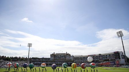 A view of the ground before the ICC Cricket World Cup group stage match at The Oval, London. Photo: