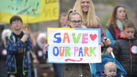 People of all ages marched together through Sudbury to protest against development plans for Belle V
