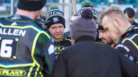 Cameron Heeps listens intently to Witches team manager Ritchie Hawkins during a team talk. Pictur