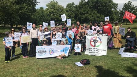 The protestors gathered in Christchurch Park at the end of the Suffolk SEND march in May Picture: AM