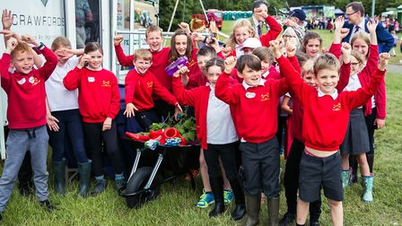 Children give a cheer for Essex Schools Food & Farming Day Picture: VICKY HOLMES PHOTOGRAPHY