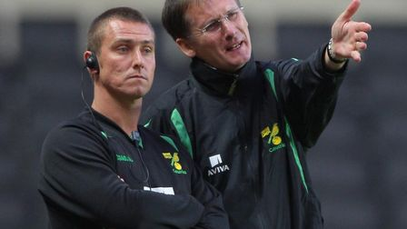 Glenn Roeder (right) and coach Lee Clark show their frustration during Norwich City's relegation sea