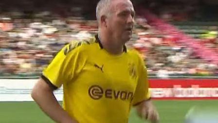 Paul Lambert played for Borussia Dortmund legends against Liverpool in Hong Kong today. Picture: LFC