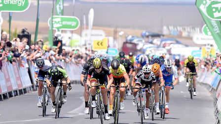 Jolien D'Hoore wins the first stage of the OVO energy Women's Tour in Southwold last year Picture: