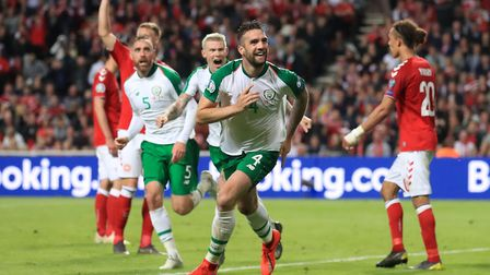 Alan Judge's delivery created Shane Duffy's goal in Copenhagen. Picture: PA