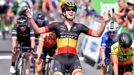 Jolien D'Hoore wins the first stage of the OVO Energy Women's Tour in Southwold in 2018. Picture: N