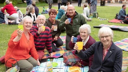 Worshippers eating together after the event at the cathedral in Bury St Edmunds Picture: KEITH MINDH