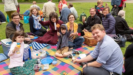 People enjoying a picnic after the Catching the Fire event at St Edmundsbury Cathedral Picture: KEIT