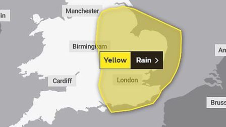The Met Office yellow weather warning in place for eastern England for Monday June 10 Picture: MET O