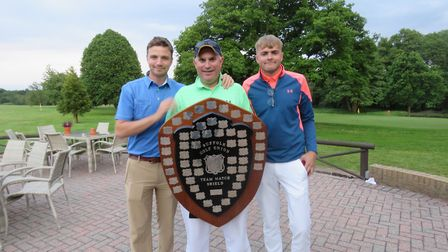 The Hintlesham team who won the Club team shield by one shot from Ipswich. From left: Jack Cardy, Sa