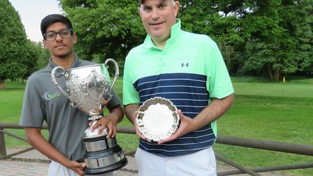 Habebul Islam, the new Suffolk Amateur champion, holds the Todd Cup with runner-up Sam Debenham whom