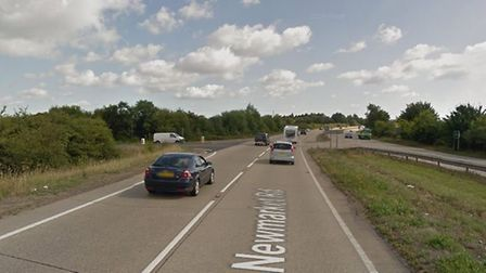 The crash happened on the A11 near the Worlington turn off Picture: GOOGLE MAPS