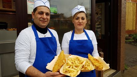 Inci Korkmaz, Director of Framlingham Fish Bar, with her cousin outside the shop, after Ed Sheeran p