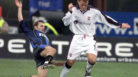 Magilton in action against Inter Milan at the San Siro. Picture: PA