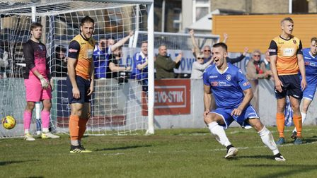 Lowestoft's Jake Reed celebrating his hat-trick against Stratford as the Trawlerboys saved themselve