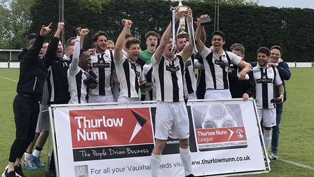 Long Melford celebrate winning the Thurlow Nunn League Challenge Cup, following a 1-0 win over Faken