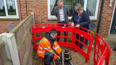 Openreach demonstrate the latest fibre build at Benacre Estate to local MP Therese Coffey Picture: