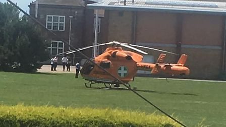 An air ambulance could be seen landing in a field outside the school in Clacton Picture: SARAH MILLW